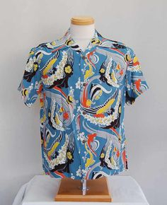Sun Surf 2016 Summer Collection Kaui Mermaid Blue Rayon Aloha Shirt Hawaiishirt Toyo Sunsurf Alohashirt Hawaiianshirt Vintage 50s