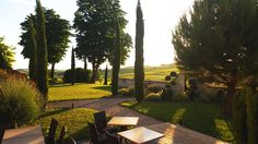 Sunset from the terrasse facing the vineyard of Cognac. A great place to have dinner then a cognac tasting : relaxation  #guesthouse #sunset #vineyard #cognac