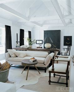 Stark White and Blacks with natural elements - Living Room