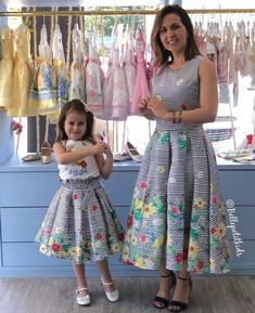 Image may contain: 2 people, people standing Mom Daughter Matching Dresses, Little Girl Dresses, Girls Dresses, Mom And Baby Outfits, Kids Outfits, Toddler Dress, Baby Dress, African Dresses For Kids, Mother Daughter Fashion