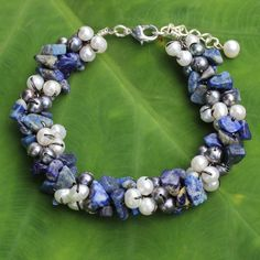 Cultured pearl and lapis lazuli beaded bracelet, 'Gracious Lady' - Handmade Bracelet with Lapis Lazuli and Pearls Handmade Jewelry Bracelets, Fashion Bracelets, Beaded Bracelets, Beaded Jewelry, Bangles, Lapis Lazuli Bracelet, Lapis Lazuli Jewelry, Jewelry Sites, Dragonfly Jewelry