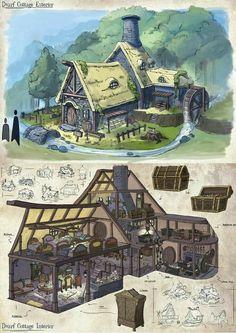 - Dwarf Cottage, Kean Wai Yuen - - ArtStation – Dwarf Cottage, Kean Wai Yuen – -ArtStation - Dwarf Cottage, Kean Wai Yuen - - ArtStation – Dwarf Cottage, Kean Wai Yuen – - A shopping bag that makes the bag bigger and smaller by zipper. Fantasy City, Fantasy House, Fantasy Map, Fantasy Places, Fantasy World, Environment Concept Art, Environment Design, Bd Art, Dungeon Maps