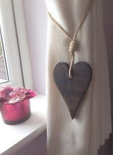 Pair Of Handmade Dark Wooden Long Heart Curtain Tie Backs With Jute Rope £10.99
