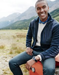 J.Crew men's grizzly fleece full zip jacket and Bowery slim pant in green.