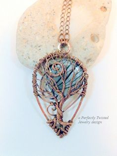 Wire Wrapped Tree of Life, Prosperity Pendant Necklace, Mother of Pearl, Handmade Jewelry, Antiqued Copper Wire Jewelry by Perfectly Twisted