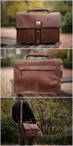 Leather Briefcase Messenger Bag Shoulder Bag Men Handbag