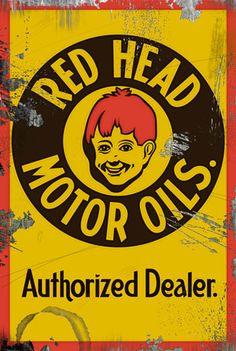 Red Head Motor Oils Authorized Dealer Vintage Sign
