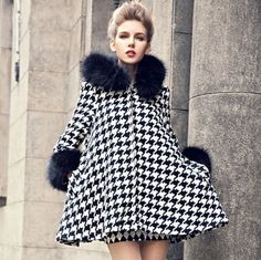 2014spring plus velvet thick fur collar woolen outerwear female autumn winter fashion houndstooth coat wool overcoat S/M/L D2414 - http://www.styliate.me/http://www.styliate.com/products/2014spring-plus-velvet-thick-fur-collar-woolen-outerwear-female-autumn-winter-fashion-houndstooth-coat-wool-overcoat-sml-d2414/