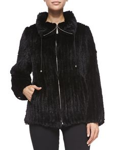Knitted Mink Fur Bomber Jacket, Black  by Belle Fare at Neiman Marcus.