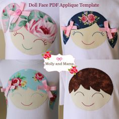 'Doll Face' PDF Applique Pattern and Template