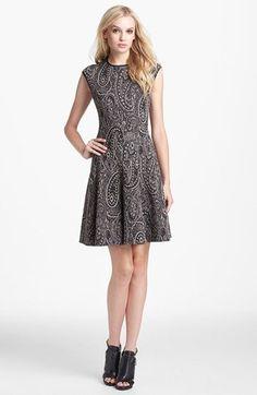 Jacquard Fit & Flare Sweater Dress