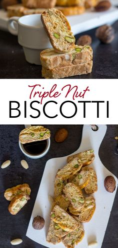A crunchy easy to make Triple Nut Biscotti. These delicious Italian cookies are made with walnuts, pistachios and almonds. This easy biscotti recipe is the perfect Christmas Cookie - why not gift a few over the holidays! #biscotti #Italiancookies #almondbiscotti #Christmascookies #dessert #Italianrecipe