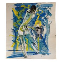 Abstract Nude By Hendrik Grise on Paper on Chairish.com