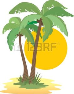 Coconut palm trees, sun, sunset and sand Stock Vector