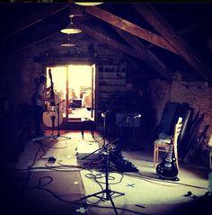 Ben Howard's instruments room, under the roof. Weekend Album, Ben Howard, Home Studio, Recording Studio, Sweet Home, Cozy, Music Studios, Places, Instruments