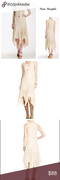 """Free People Natural Long Dress New without tags.  This is is a variety Dress.  Wear this to your favorite festival, party, or over your bathing suit with some boots, Adidas sneakers or sandals.  Lace-like mesh styles a romantic slipdress fitted with a dropped waist that transitions into a flowing asymmetrical skirt. 43"""" to 55"""" length. Sheer; base layer recommended. 90% nylon, 10% spandex. Hand wash cold, line dry. Free People Dresses Maxi"""