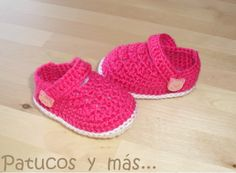 Patrón Patucos de ganchillo tipo merceditas / Pattern Baby crochet shoes