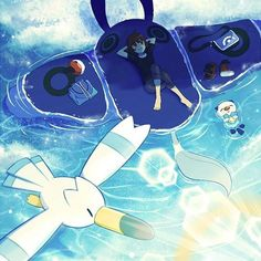 Relaxing under the sun on the back of a Mantine What even is a weekend anymore?? . Artist: 1chi_mioto