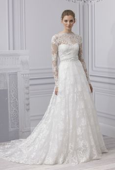 Monique Lhuillier, Vintage, Traditional classic bateau illusion sweetheart white/ivory Spring 2013 lace a-line long Illusion floor-lengthhighRunway