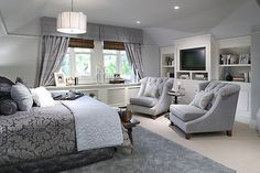 Master Bedroom like this layout... only I have a fireplace instead of a TV and want 2 chairs and a round table in front of them for tv watching and then a bench at end of bed that can double as a foot rest