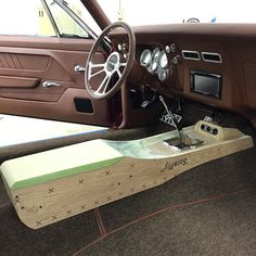 bux customs Center console custom brown pro touring  camaro center