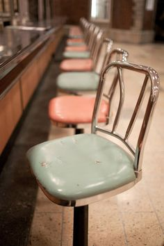Woolworth's lunch counter stools, I loved twisting side to side waiting to be served.