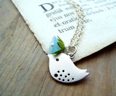 SPRING SALE Spring Bird Necklace by FuchsiaBloomStudio on Etsy, $24.00