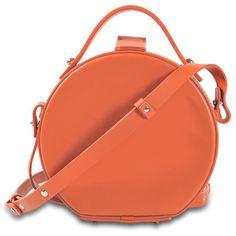 Nico Giani Tunilla mini circle bag ($462) ❤ liked on Polyvore featuring bags, handbags, orange, orange purse, red handbags, circle handbag, miniature handbags and circle bag