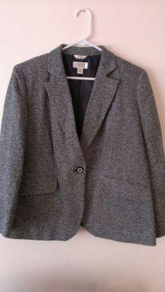 Talbots Womens Black & White Tweed Lined Jacket Blazer Petite 12W #Talbots #Blazer