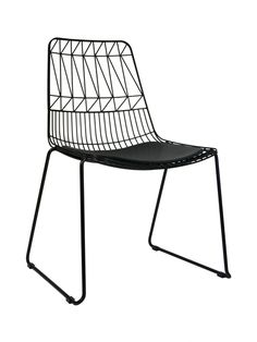 Net Outdoor Chair Replica Bend Wire Lucy Dining Chairs Stackable Black ($169) https://emfurn.com/collections/eero-saarinen