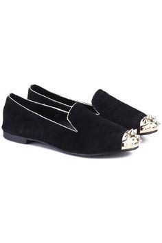 Rivets Metal Toe Cap Flat Shoes