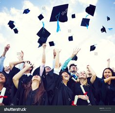 Graduation Caps Thrown In The Air Stock Photo 174215792 : Shutterstock