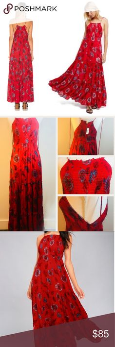 "NWT Free People Red Blue Floral Maxi Dress - [ ] New With Tags Brand New Authentic Free People Red Blue Floral Maxi Dress - [ ] Very sexy, Cute and can fit in all occasion - [ ] 100% Rayon  - [ ] Authenticity Guaranteed    - [ ] Measurements: Length 56"" Bust 13"" stretch material at the bust  - [ ] Get FREE shipping by (Adding to Bundle) - [ ] No Trading  - [ ] Get 10% more discount + free shipping When you bundle 2 or more items.  - [ ] All Reasonable Offers Accepted Free People Dresses Maxi"