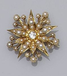 A late Victorian diamond and seed pearl brooch/pendant Of flowerhead design, with central pinched collet set old brilliant-cut diamond, the surround set with seed pearls and half pearl, one lacking, on detachable brooch fitting, with hinged pendant mount, width 3.4cm.