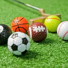 6 colourful, novelty golf balls designed to match sports balls. A great gift to make your golfer chuckle! Includes football, basketball and tennis golf balls. Fast UK delivery.