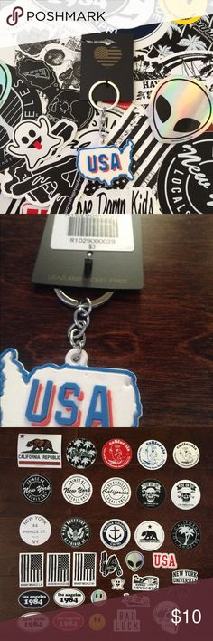 "BNWT Brandy Melville Keychain + Stickers Includes 1 BNWT rubber keychain that says ""USA"". There are 2 dents (probably from an unclicked pen) on the back, but it's pretty unnoticeable. You also get to pick any 5 stickers shown in the 3rd picture to be included with your purchase. If you want the keychain separately I can make a listing for you for $8. I already have a listing for 5 stickers in my closet if you just want stickers.   🌸 I only sell on Posh 🌸 I don't trade 🌸 My price is firm…"