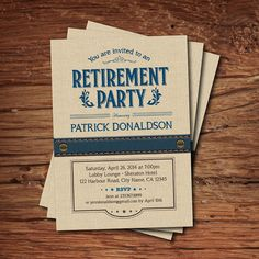 Retirement party invitation. Vintage rustic navy blue by CrazyLime