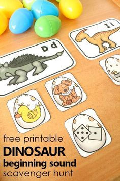 Free Printable Dinosaur Beginning Sound Scavenger Hunt for Preschool and Kindergarten - Kids education and learning acts Dinosaur Theme Preschool, Dinosaur Printables, Dinosaur Activities, Preschool At Home, Free Preschool, Preschool Printables, Preschool Lessons, Alphabet Activities, Literacy Activities