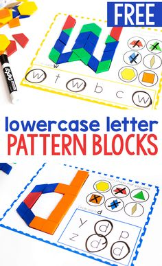 Free Printable Lowercase Alphabet Pattern Block Mats Free printable lowercase letter pattern block mats for preschool and kindergarten literacy centers. Build lowercase letters with these simple mats. Try this free printable today! Abc Centers, Kindergarten Centers, Kindergarten Reading, Preschool Kindergarten, Letters Kindergarten, Writing Centers, Preschool Learning, Learning Activities, Patterning Kindergarten