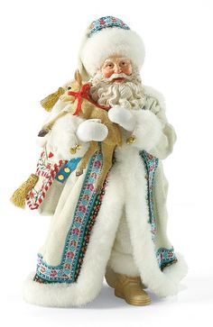 Endearing - Santa and Baby Dear-Be sure to notice all the extra touches Santa's coat and bag contain. The special ribbons, bell and tassel look great against his snow white jacket as does the baby deer he holds. This Endearing piece shows Santa in his elegant fur-lined white winter coat and hat cheerfully holding a delicate little reindeer. This is one gift Santa is going to keep for himself this Christmas.