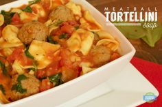 Meatball Tortellini Soup - this soup is SO easy to make, is really filling, and tastes amazing! We'll definitely be making this again. Grilled Sandwich, Soup And Sandwich, Soup Recipes, Diet Recipes, Potato Sauce, Tortellini Soup, Baked Potatoes, Diet Foods, Meatball
