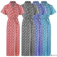 NEW WOMENS 100% COTTON SUMMER DRESSING GOWN ROBE LADIES  BATH ROBE