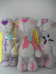 teddies Crochet Teddy, Crochet Bear, Crochet Toys, Amigurumi Toys, Dolls, Bears, Tela, Knitted Animals, Toys