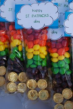 such a cute idea for st. patty's!! use different colored skittles to create the rainbow over a pot of gold (rolos)!