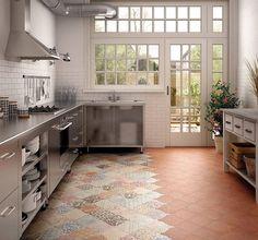 Dai al tuo pavimento della cucina multiple personalità con mosaico di piastrelle patchwork a motivi geometrici