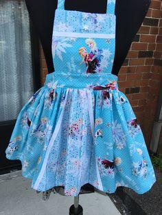 Beautiful Girls Frozen Apron  (size 4-5).  (No 374) by MothersApronString on Etsy