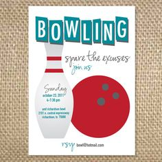Bowling Birthday Party Invitation. Bowling Birthday Invitation ...