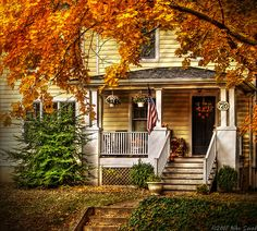 Autumn Porch by Mike Savad  I'd like to move in.  Today.