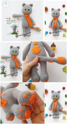Amigurumi Crochet Little Cat Free Patter Cat - Diy Crafts Crochet Cat Pattern, Crochet Mouse, Crochet Teddy, Crochet Patterns Amigurumi, Crochet Dolls, Crochet Baby, Free Crochet, Free Pattern, Cat Crochet