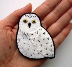 Felt Snowy Owl Brooch, woodland, forest, white